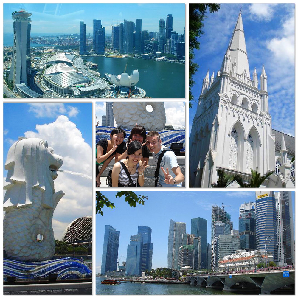 The merlion, cathedral and Marina Bay in Singapore