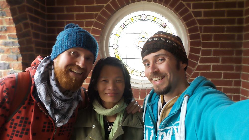 Making friends at the Hare Krishna Centre in Dunedin