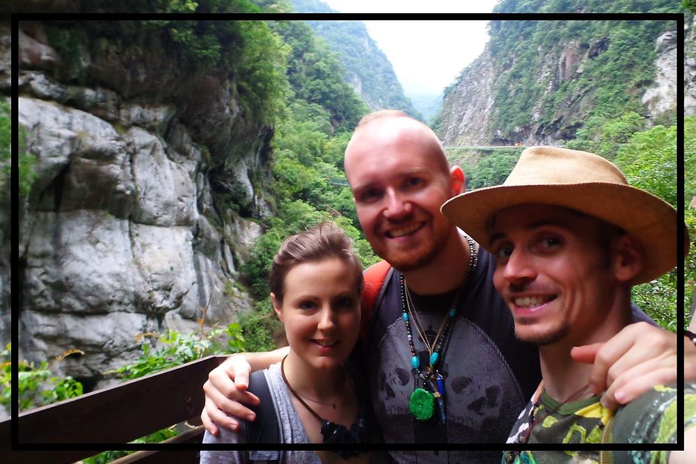 Hannah, Nate and Mark at Taroko Gorge Taiwan