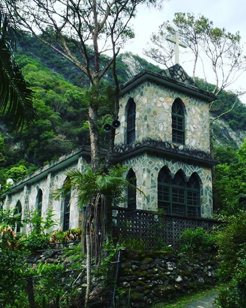 Green church in Taroko Gorge Taiwan