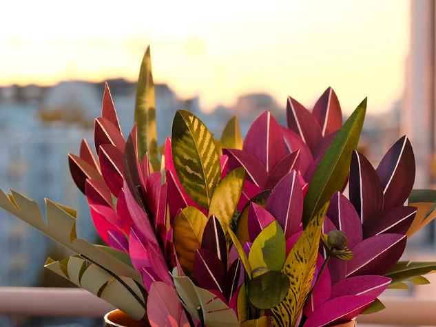 Purple Love 2019 Zimmerpflanze erschaffen aus Papier - Paperart