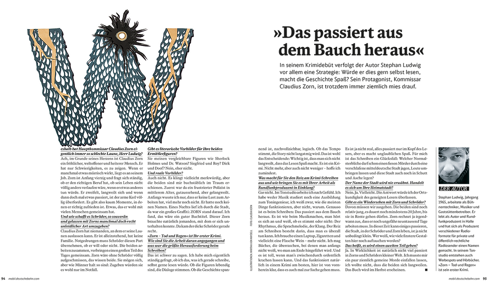 DB Mobil Magazin,  Paperart, Papercut, paperwork, papercraft, mvmpapercuts, berlin, martha von maydell, Papierkunst, Illustrationagazin,  Paperart, Papercut, paperwork, papercraft, mvmpapercuts, berlin, martha von maydell