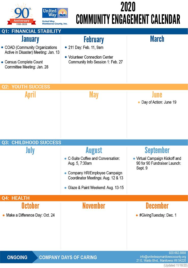 2020 Community Engagement Calendar - Ext