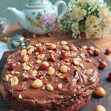 Bolo brownie com Nutella