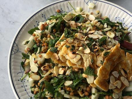 Haloumi salade met amandel