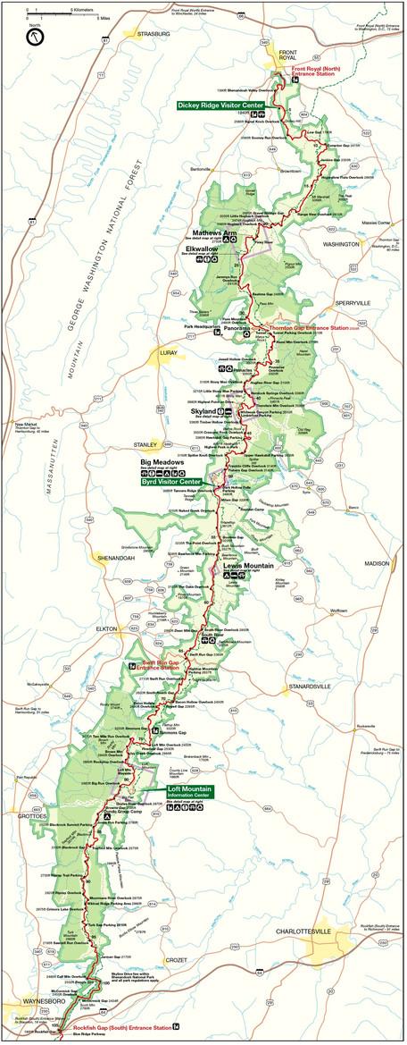 Map of Shenandoah National Park