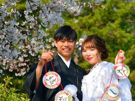 桜と一緒の和装ウエディングフォト🌸 photo+life 縁 ~enishi~ 出張撮影 ロケーション撮影 出張ヘアメイク 