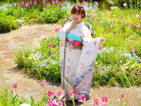 お花に溢れ新緑輝くガーデンで成人式の前撮り photo+life 縁 ~enishi~ 出張撮影 ロケーション撮影 
