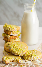Pistachio Shortbread Cookies with Rosewater Icing