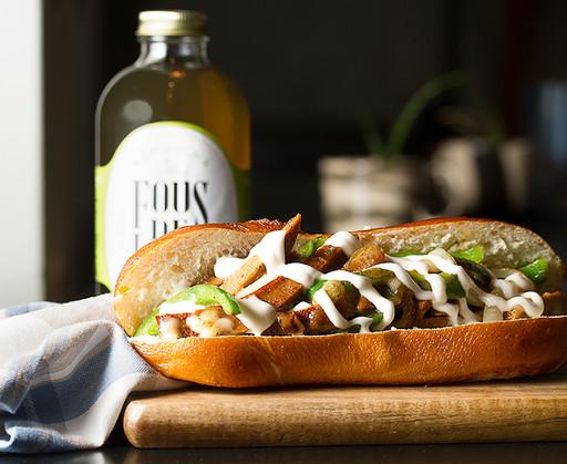 "Gusta's Vegan ""Chicken"" Fajita Sandwich"
