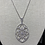 Thumbnail: Sterling Silver Oval Flower Pave Necklace