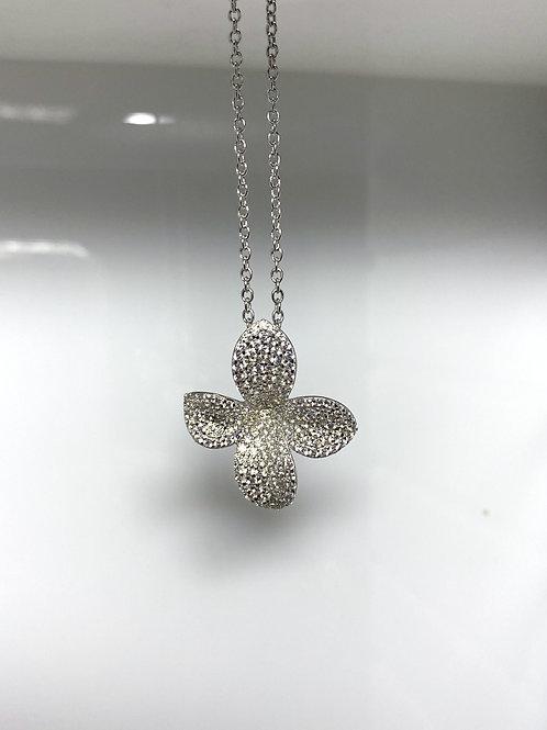 Sterling Silver & CZ Flower Pendant
