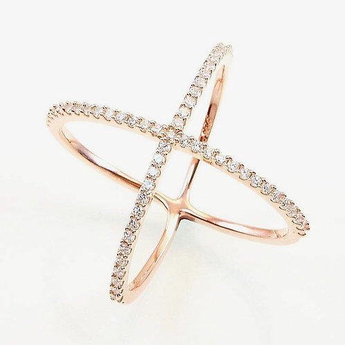 """Sterling Silver """"X"""" Ring"""