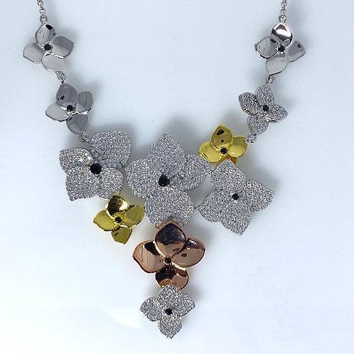 Multi Flower Sterling Silver Pendant