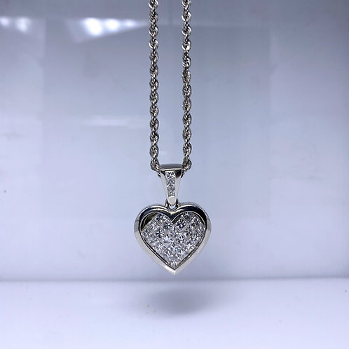 Platinum Diamond Heart Shaped Pendant