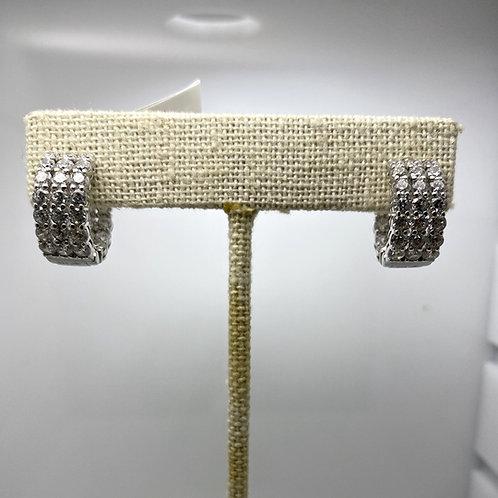 Sterling Silver & CZ Huggie Earrings