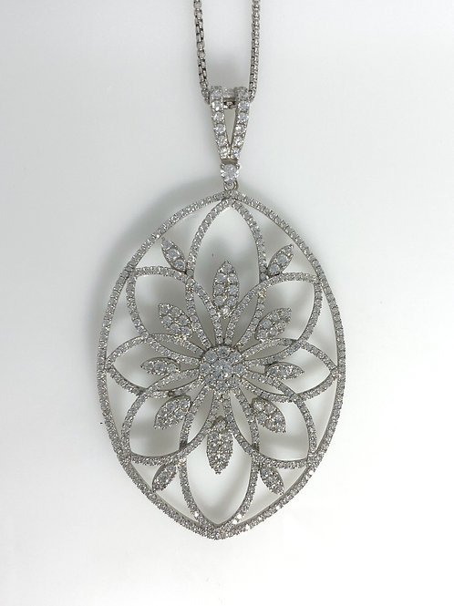 Sterling Silver Oval Flower Pave Necklace