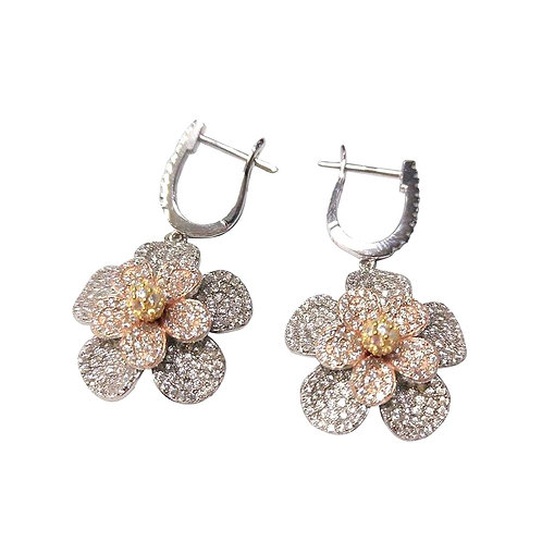 Tri Color Flower Earrings