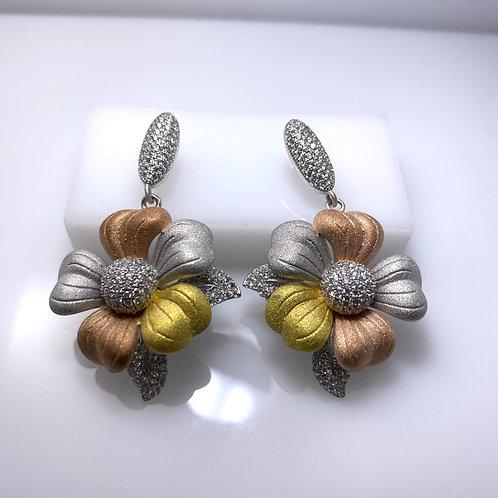 Brushed Tri-color Sterling Silver Flower Earrings