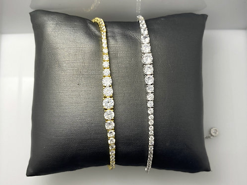 Sterling Silver CZ Bolo Tennis Bracelet