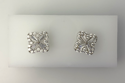 Sterling Silver & CZ Clover Studs