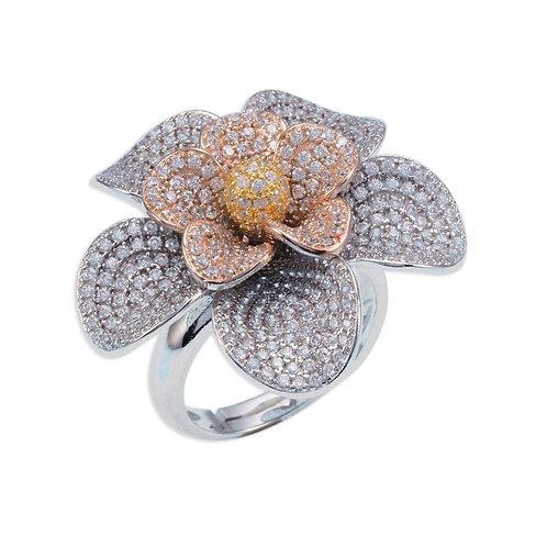 Tri Color Flower Ring