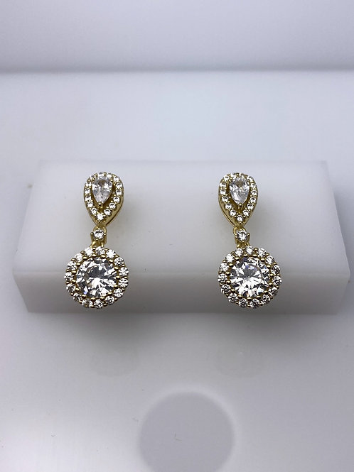 Sterling Silver Drop Stud CZ Earrings