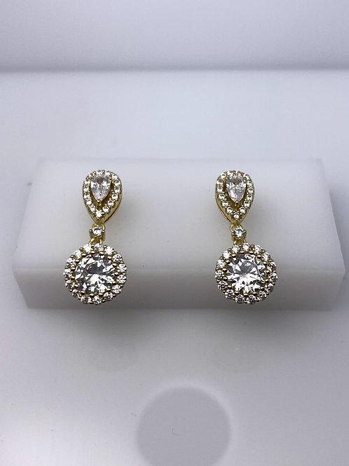 Sterling Silver Drop Stud CZ Earrings