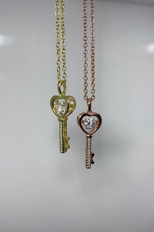Sterling Silver Heart Shaped Key Pendant