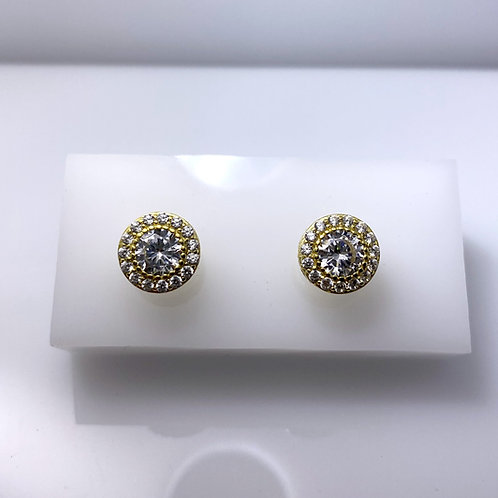 Sterling Silver & CZ Halo Studs