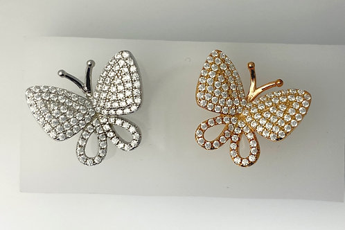 CZ & Sterling Silver Butterfly Earrings