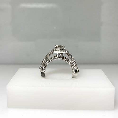 White Gold Square Halo Diamond Ring