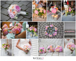 Peony bouquets in peach and pinl