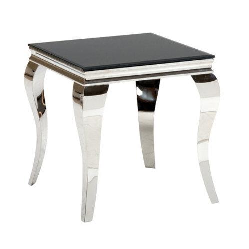 Black glass top silver modern legs