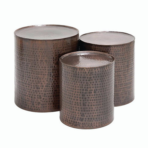 Set of three bronze side tables