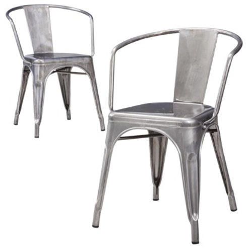 Silver Metal Dining Chair with arms