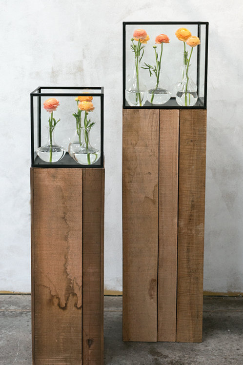 Wood and glass colums