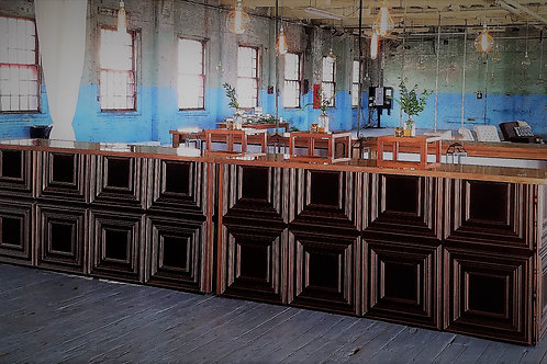 Copper bar with walnut wood top