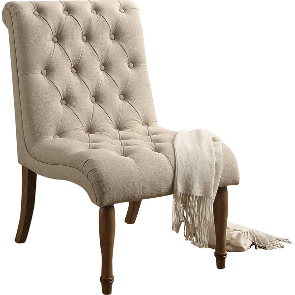 Tufted armless side chair
