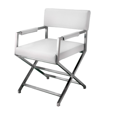 white leather directors chairs