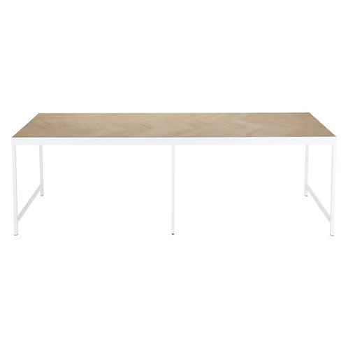 White metal wood top table