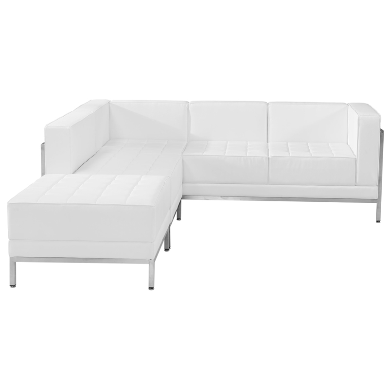 White leather 4 pieces