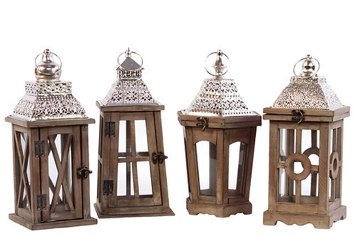 Wood and silver lanterns
