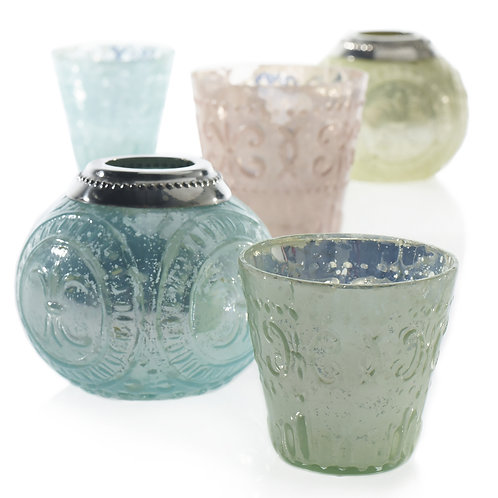 Blue and pink mercury glass voitves