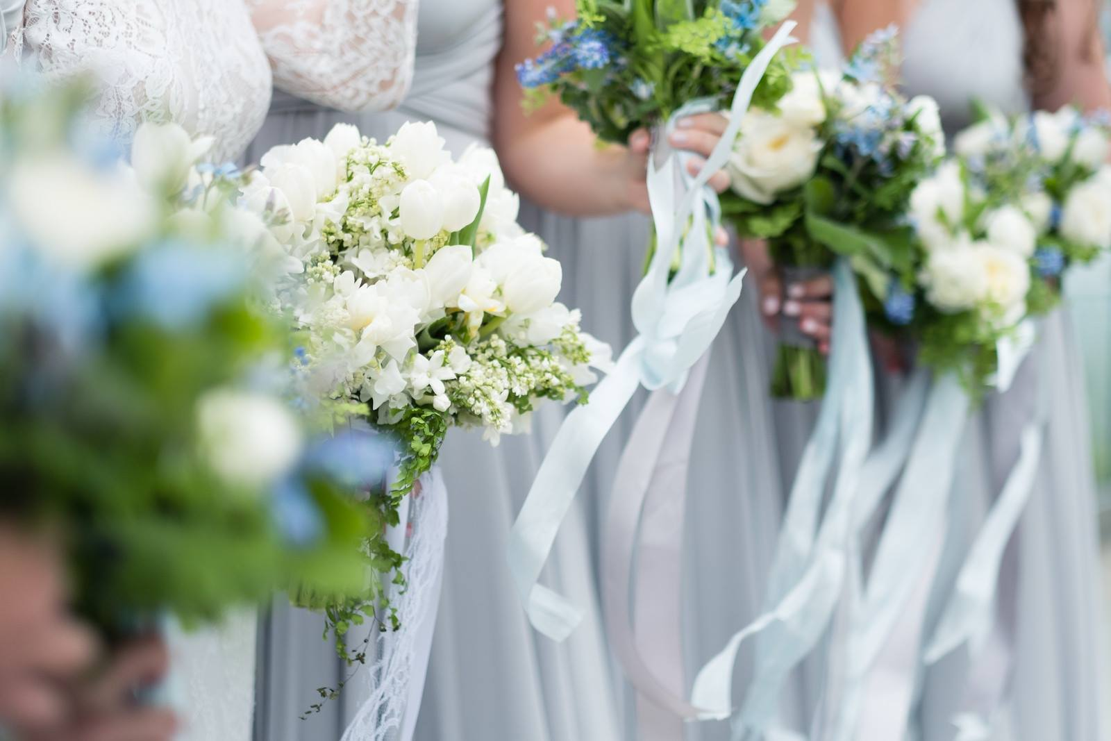 Bouquets. Gray blue white