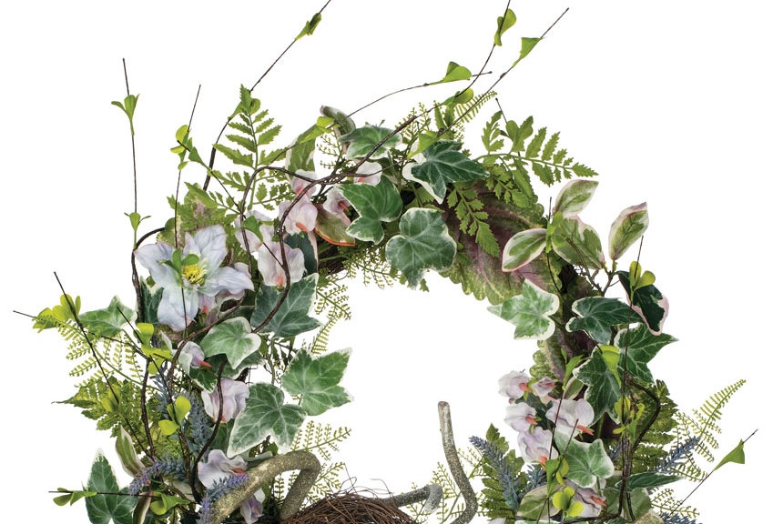 SILK CLEMATIS SWEET PEA LAVENDER WREATH