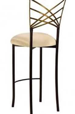Gold and black cross back stool