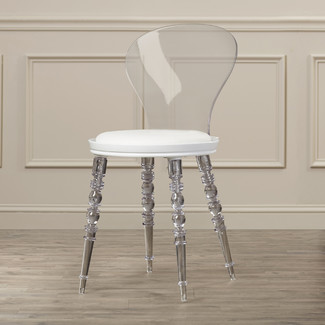 white acrylic dining chair