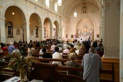 Congregation in Sacred Heart church