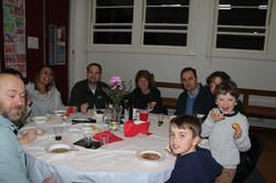 School families enjoying the night